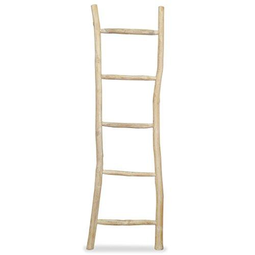 vidaXL 244568 Teak handdoekhouder ladder met 5 sporten decoratieve ladder wasrek, natuur, één maat
