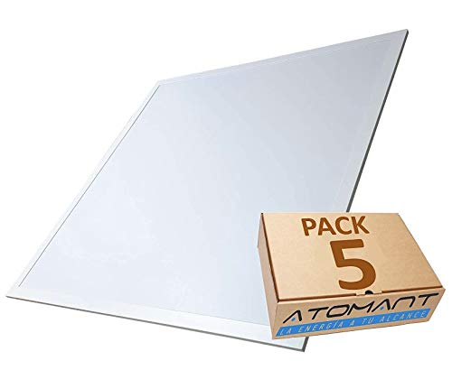 Pack 5x Panel LED Slim 60x60 cm, 40W. Color Blanco Frio (6500K). 3200 Lumenes. Driver incluido. A++