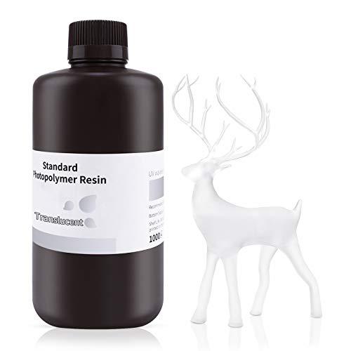 ELEGOO 3D Drucker LCD UV Resin, 405nm Rapid Photopolymer Resin für LCD/DLP 3D Drucker Photopolymer Harz, 1000g Transluzent