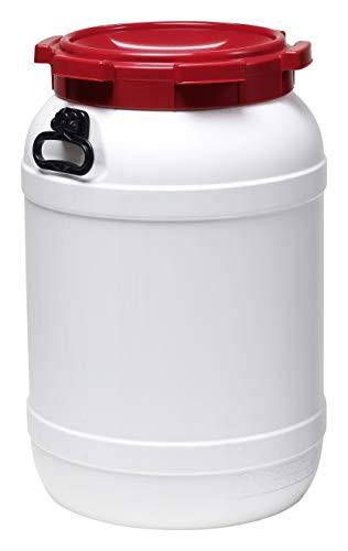 Curtec HDPE Weithalsfass mit rotem Schraubdeckel, Stapelbar, Wasserdicht, Naturweiß (41,7 Liter)