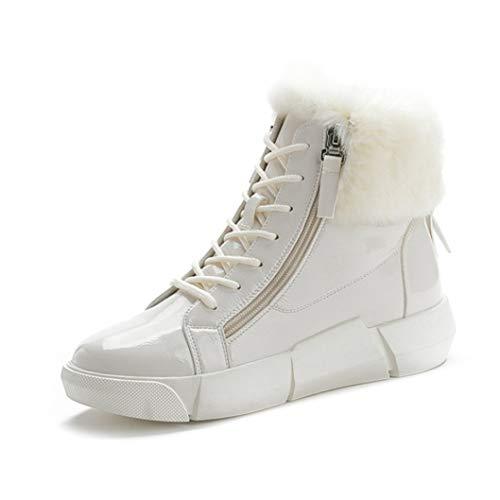 Winter Frauen Reißverschluss Stiefeletten Plüsch Gefüttert Schnürschuhe Casual High Top Plateauschuhe Round Toe Wärme Schneeschuhe