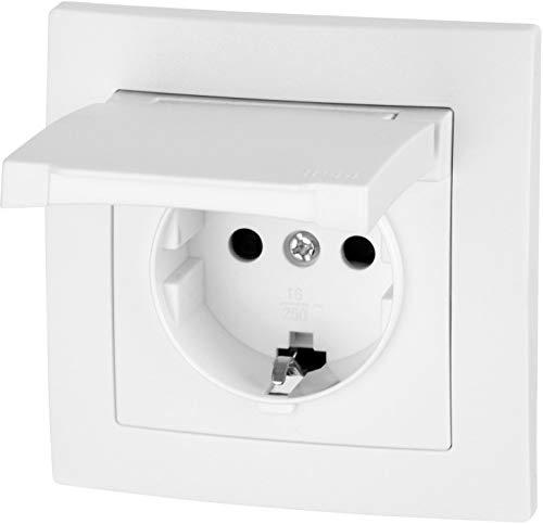 UP Feuchtraum Steckdose mit Feder-Klappdeckel IP44 - Klemmanschluss - All-in-One - Rahmen + Einsatz + Abdeckung + Silikonring - ET-1 weiß