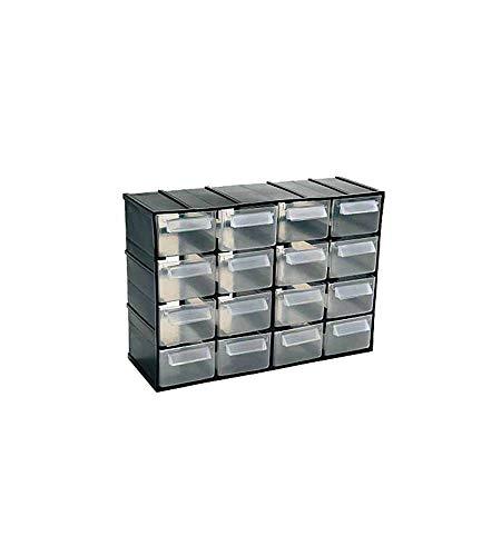 Art Plast 802 - Cassettiera, 16 cassetti trasparenti con portaetichetta, 221 x 85 x 156 mm