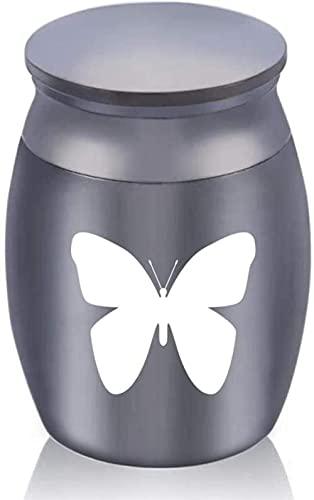 JLXQL Urnas de cremación para Cenizas Memorial Dog Butterfly Urnas de cremación para Cenizas Contenedor de aleación de Aluminio Frasco pequeño ataúd para Memorial -Negro_30x40mm