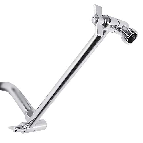 Adjustable Shower Arm Universal Connection, Nearmoon Solid Brass Shower Extension Arm, Adjust Angle to Upgrade Shower Experience, Easy to Install, Anti-leak (11 Inch, Chrome Finish)