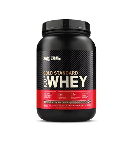 Optimum Nutrition Gold Standard 100% Whey Proteína en Polvo, Glutamina y Aminoácidos Naturales, BCAA, Extremo Chocolate, Leche, 28 Porciones, 896 g, Embalaje Puede Variar ⭐