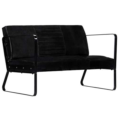 vidaXL Sofa 2-Sitzer mit Armlehnen Luxus Zweisitzer Polstersofa Loungesofa Ledersofa Lounge Designersofa Wohnzimmer Sitzmöbel Schwarz Echtleder Eisen