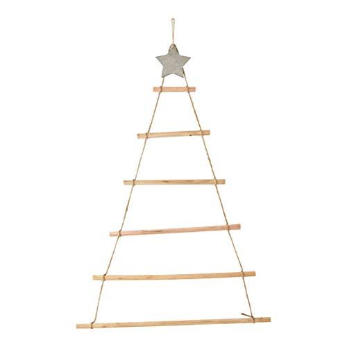 ZARQ Albero di Natale in Legno, Albero di Natale da Parete con Stella e Corda Albero di Natale Alternativo Albero di Natale in Legno per Decorazioni Natalizie