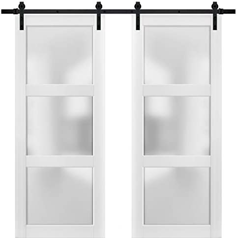 Sturdy Double Barn Door 60 x 84 inches with Frosted Glass 3 Lites Lucia 2552 Matte White Top product image