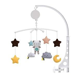 heling896 Bebé Cuna Musical Campana Paño Móvil Juguete Cuna Juguete Móvil Movimiento Giratorio Suave Suave Luz De Las Estrellas Canciones Relajantes para Bebés Niños Y Niñas