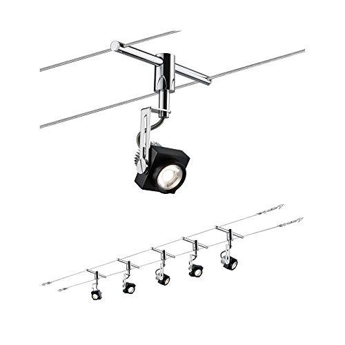 Paulmann 940.81 Seilsystem Phase Set Warmweiß 5x5W LED Schwarz Chrom 94081 Seilleuchte Hängeleuchte