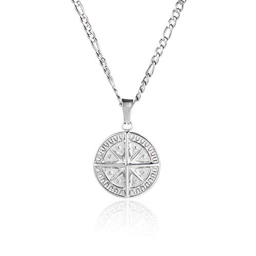 Compass North Star Pendant Stainless Steel Silver Figaro Chain Necklace- By Twistedpendant… (Silver)