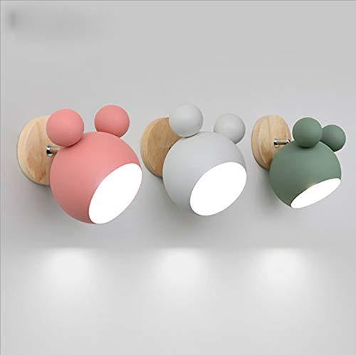 LED wandlamp binnen Nordic slaapkamer bedlampje creatieve persoonlijkheid voor eenvoudige leeslamp van hout Decoratie ganglamp wandlamp Mickey Nie peer wit