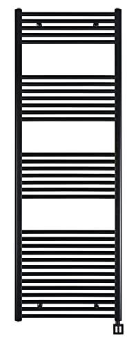 Badheizkörper elektrisch'GREEN' 4 Timer, schwarz, elektrischer Handtuchheizkörper, Badheizkörper elektro, Elektrobadheizkörper, Handtuchtrockner RAL9005 matt (1775h x 600b)