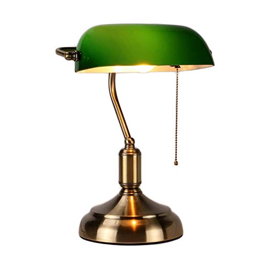 MZStech Schreibtischlampe/Bankers Lampe/Bürolampe Weißer Glasschirm, Zugschalter und LED Glühlampe 4w (Grün, Messingbasis)