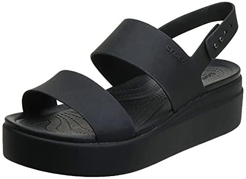 Crocs Women's Brooklyn Low Wedges Sandal, Black/Black, 8