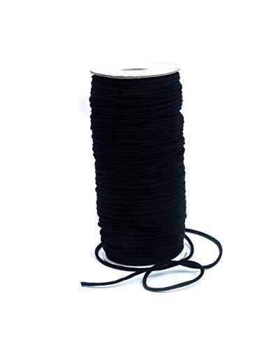 Gummischnur, Stretchband, elastischer Faden, rund 3mm, Rolle ca. 100m schwarz sofort versandfertig Handarbeit nähen selber machen