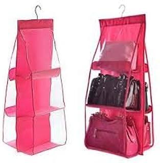 GBEX Fabric 6-Pocket Hanging Storage Rack for Handbag (MULTI COLOR)