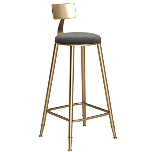 WRISCG Tabouret de Bar Cuisine Pub Petit-déjeuner Chaise de Salle à Manger Comptoir Style Moderne Cadre en métal doré Coussin Souple Siège de sécurité Charge maximale 150 kg (Coussin Gris) (Taille: