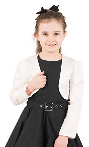 BlackButterfly Kinder Satin Langarm Bolero Mädchen (Elfenbein, 11-12 J / 146-152)