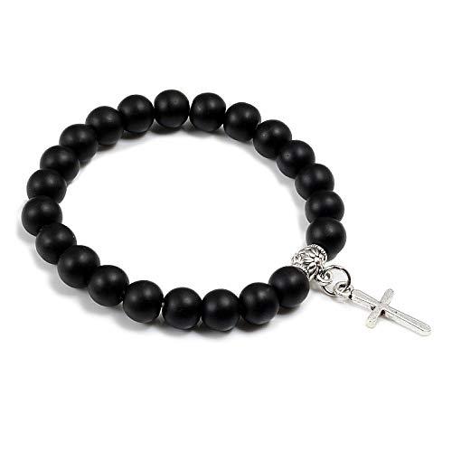GROPC Beaded Bracelet,8Mm Lava Beaded Bracelets Vintage Boho Bracelet Romantic Silver Cross Pendant Charm Bangles For Men Women Couple Gift,Matte Black