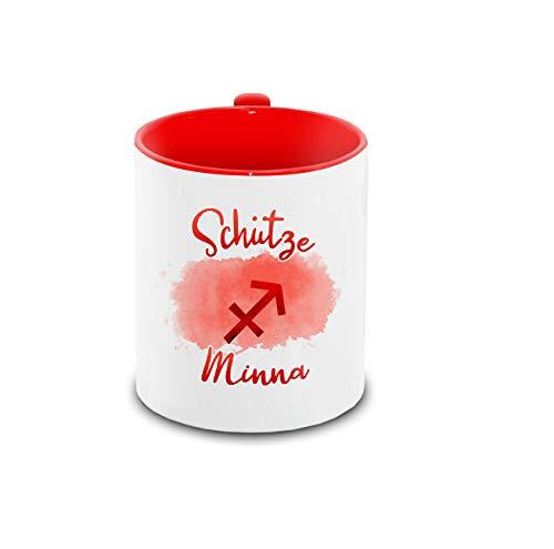 Tasse mit Namen Minna und Sternzeichen-Motiv Schütze im Lettering-Stil | Keramik-Tasse rot | Astrologie-Geschenk