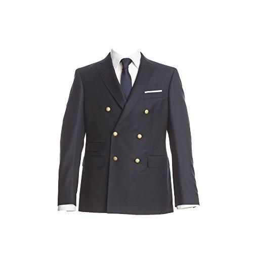Barutti Blazer Zweireiher Sakko Taziano UK AMF Marineblau Uni Tailored Fit taillierter Schnitt 100% Pure Wool Schurwolle Super 150 S 48