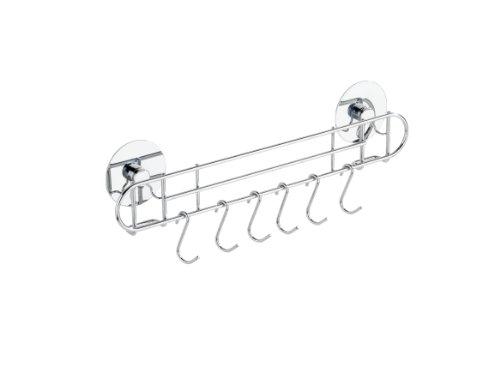 Wenko TurboFIX Küchen-Reling, mit 6 Haken - Befestigen ohne bohren, 31,5 x 9,5 x 5 cm, silber glänzend