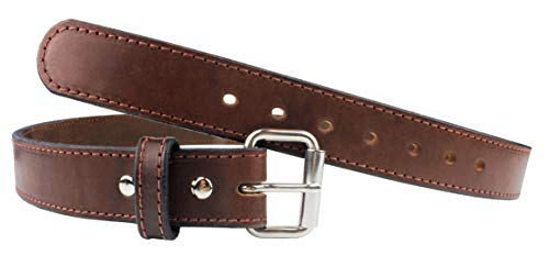 The Ultimate Steel Core Gun Belt | Concealed Carry CCW Leather Gun Belt With Steel Insert | Made in the USA | The Toughest 1 1/2 inch Premium Heavy Duty Leather Gun Belt | Brown 46