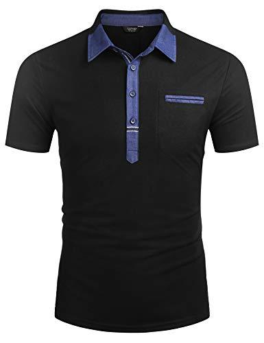 COOFANDY Herren Poloshirt Kurzarm Polohemd Regular Fit Basic Polo Sommer Einfarbig Tshirt Freizeit Polo Shirt Schwarz XXL