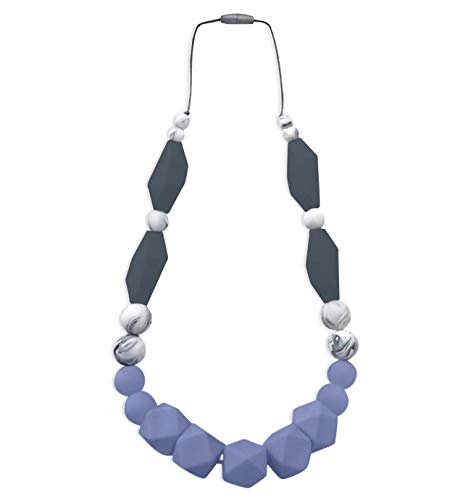 REIGNDROP Baby Teething Necklace for Mom to Wear, Silicone Teether for Pain Relief in Babies and Toddlers, Light Weight Stylist Sensory Chew Necklace for Kids Adults (Blue/Marble/Grey)
