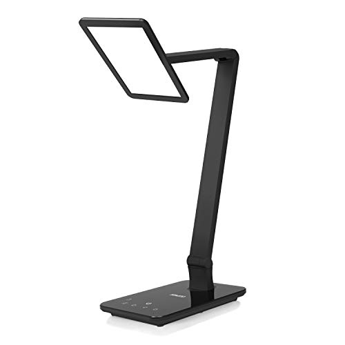 Saicoo Led Desk Lamp with Large Led Panel, Seamless Dimming Control of Brightness and Color Temperature, an USB Charging Port, for Video Conference Talk