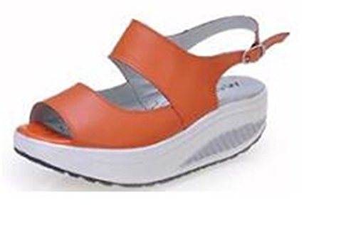 Feilongzaitianba Summer Women Sandals Casual Peep Toe Swing Shoes Lady Platform Wedges Sandals Walk Shoes Woman Black Orange 8