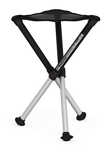 Walkstool - Modell Comfort - Schwarz und Silber - 3-Beiniger Klapphocker aus Aluminium - Höhe 45 Bis 75 cm - Klapphocker Faltbar, Belastbar mit 200 Bis 250 kg - Hergestellt in Schweden