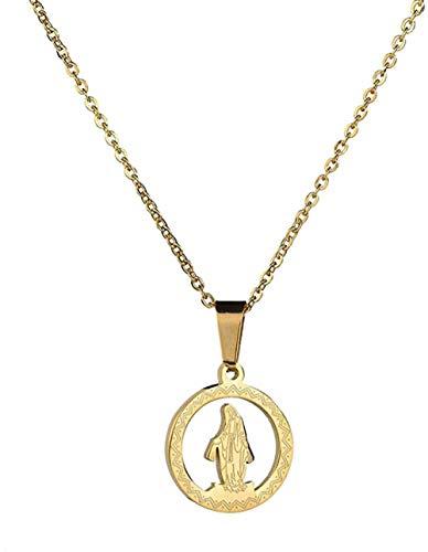 Liuqingzhou Co.,ltd Collar con Colgante de Cristo Ovalado Hueco Collar con Colgante Collares de Acero Inoxidable joyería