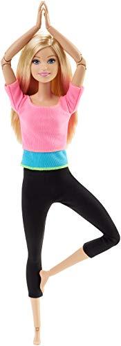 Barbie DHL82 Barbie Made to Move Puppe mit pinkem Top, bewegliche und sportliche Modepuppe mit 22 Gelenken, ab 3 Jahren