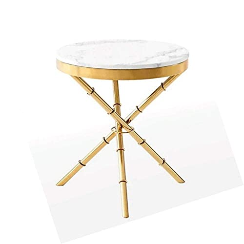 N&O Renovierungshaus Einfacher Moderner Runder Kleiner Tisch Couchtisch Edelstahl Ecktisch Personalisierter Marmor Sofatisch (Color : White Size : 56x50x50)
