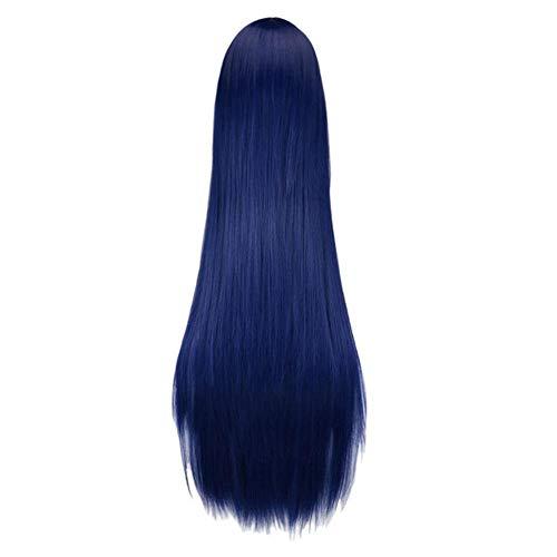 Ltong Lange Rechte Pruik Zwart Paars Zwart Rood Roze Blauw Donkerbruin 100 Cm Pruiken van synthetisch haar, marine, 38 inches