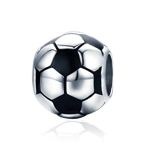 Love Sports - Charm in argento Sterling 925, con cristalli smaltati neri, per braccialetti da baseball, baseball, compatibile con braccialetti Pandora e Argento, colore: A, cod. SC-666