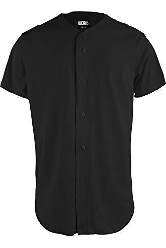 OLLIE ARNES Baseball Jersey, Hip-Hop Shirt Button Down Team Uniform Men Youth Toddler Sizes Plain_Black 2XL
