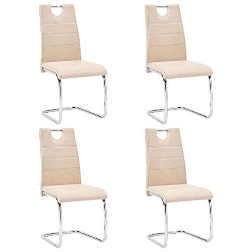 vidaXL 4X Esszimmerstuhl Freischwinger Schwingstuhl Küchenstuhl Hochlehner Stuhl Polsterstuhl Stühle Esszimmerstühle Creme Kunstleder