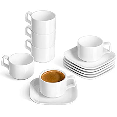 DOWAN Porcelain Espresso Cups with Square Saucers, 3 Ounce, Stackable Espresso Cups Set of 6, White
