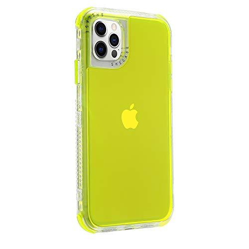 Rdyi6ba8 Funda Compatible con iPhone 12 Pro MAX (6.7''), Carcasa con Parachoques de Silicona de 360 Grados,[Ligero] Panel Posterior Transparente, para iPhone 12 Pro MAX, Amarillo