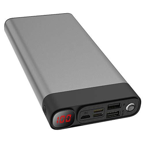 ELEFULL Batería Externa 30000mAh con Linterna y Pantalla Digital Banco de Energía Portátil Rápido con Carcasa Metálica para Teléfonos Móviles Tabletas y Otras(Gris) 🔥
