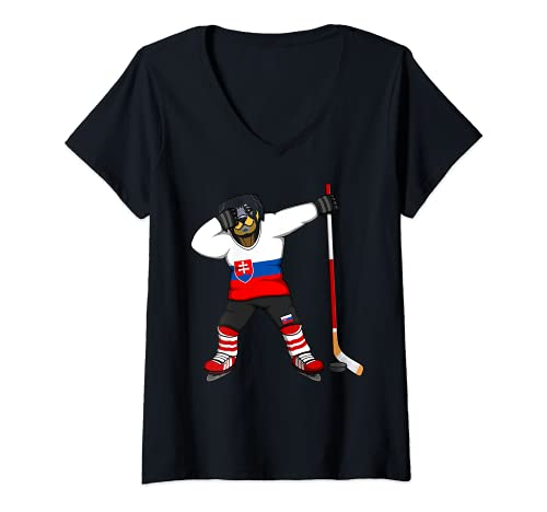Damen Dabbing Rottweiler Slowakei Eishockey Fan Slowakische Sport T-Shirt mit V-Ausschnitt
