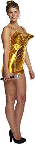 Emmas Wardrobe 80 del Vestido Oro PopstarCostume - Incluye Oro del corsé, Cintas de Oro y Diadema - 1980 Traje stat Canto para Halloween y Retro Acontecimientos - Tamaño Reino Unido 8-14