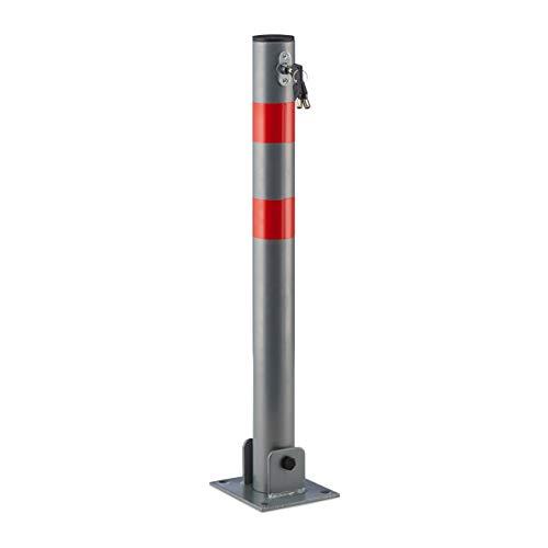 Relaxdays 10020092_482 Absperrpfosten rund Poller zur Sperre von Parkplatz, Einfahrt oder Durchfahrt klappbarer Pfeiler mit 3 Schlüsseln Pfosten aus Stahl mit roten Warnstreifen