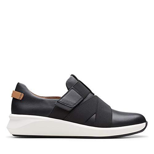 Clarks Damen Un Rio Strap Sneaker, Schwarz (Black Leather), 39 EU