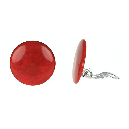 Rote Tagua Scheiben Ohrclips, 20mm