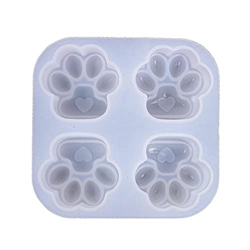 Molde de silicona con forma de huella de gato, brillante, de resina de silicona, para manualidades,...